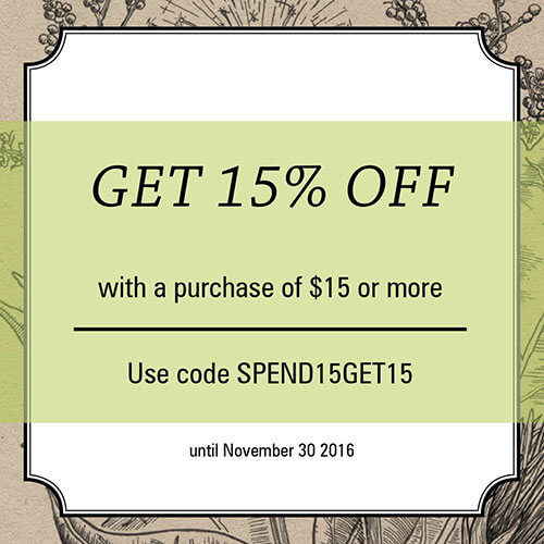 Get 15% off with a purchase of $25 or more. Use code SPEND15GET15